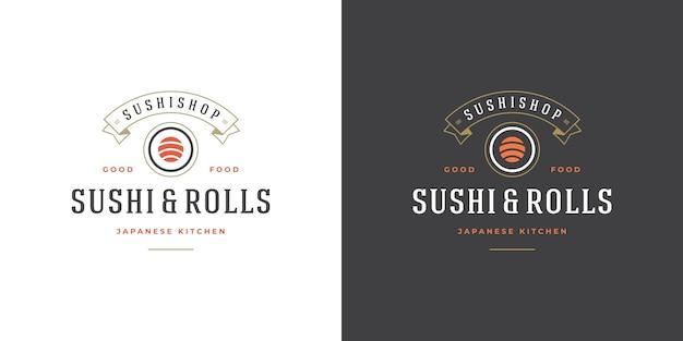 Set di sushi e loghi ristorante giapponese
