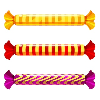 Una serie di caramelle dolci in un pacchetto di diversi colori, vettore.