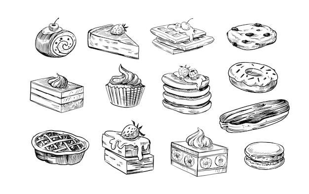 Set di cibi dolci, dessert, prodotti da forno. illustrazioni di schizzo di vettore. isolato su sfondo bianco
