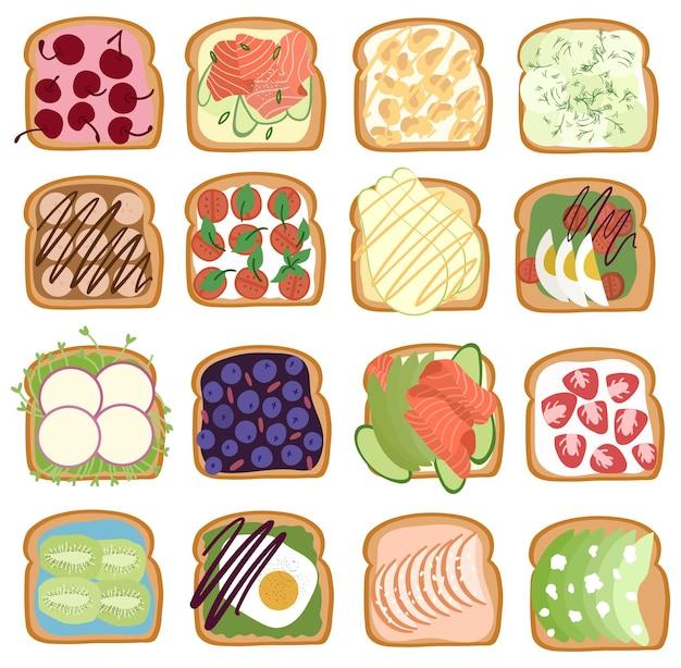 Set di dolce salato e pane tostato con vari frutti di bosco, salmone, avocado, uova.
