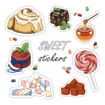 Set di adesivi dolci. illustrazione colorata di dessert.