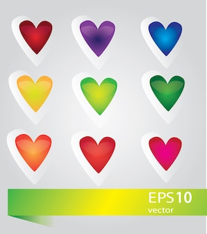 Set di simboli cuore, isolato su bianco, vector