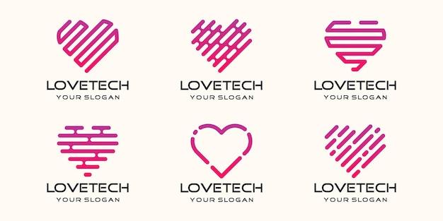 Set di simboli amore tecnologia, cuore combinato elemento digitale o dati. modello di progettazione del logo