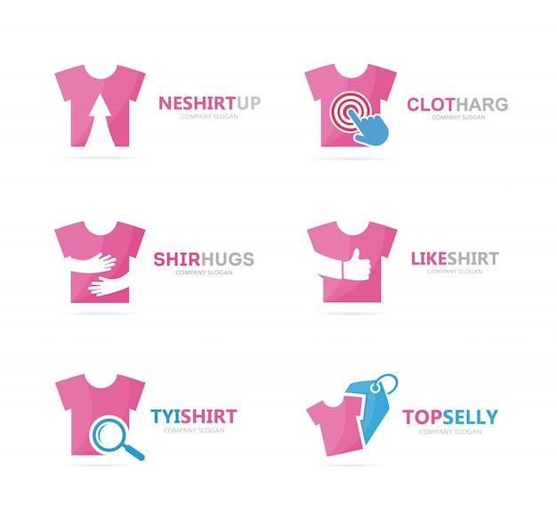 Set di combinazione logo t-shirt. modello di progettazione logotipo indumento e panno.