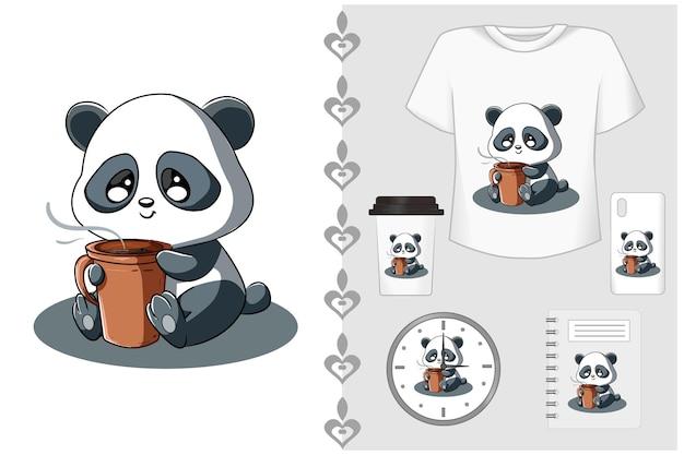 Set maglietta e merchandising, piccolo panda con caffè