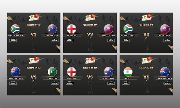 Set di t20 cricket super 12 poster design con bandiera dei paesi partecipanti scudo e coppa del trofeo di linea arte su sfondo di giocatori sagoma nera.