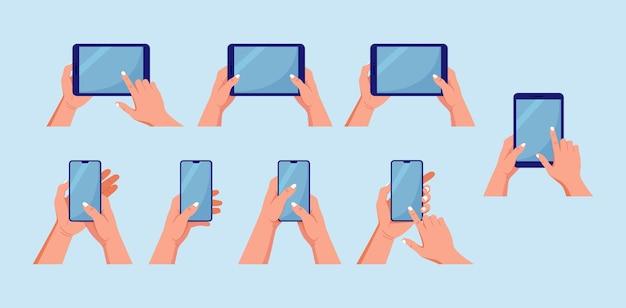 Set di tablet pc, telefono. mani che tengono e puntano sullo schermo del gadget. uomo che tocca lo schermo vuoto del computer tablet, smartphone