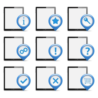 Set di tablet pc con icone, illustrazione