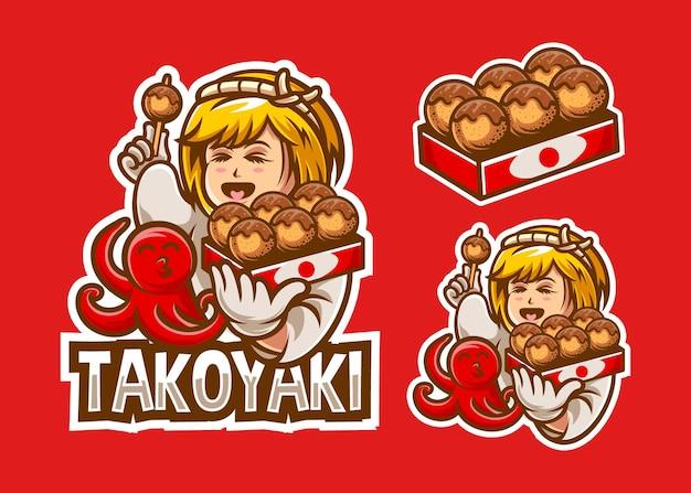 Set di ragazza takoyaki con illustrazione di polpo