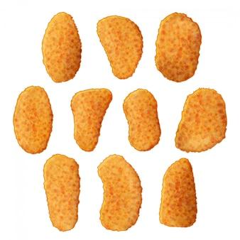 Insieme delle icone saporite delle pepite di pollo su fondo bianco. stile cartone animato. illustrazione. isolato su bianco