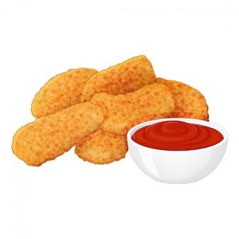 Insieme delle pepite di pollo saporite con ketchup su fondo bianco. stile cartone animato.