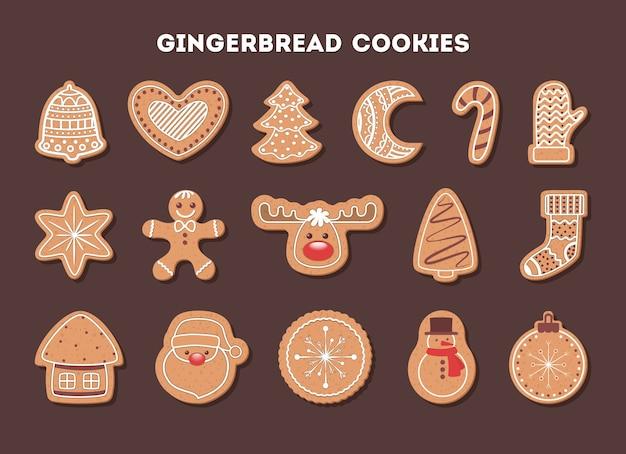 Set di gustosi deliziosi biscotti di pan di zenzero per la cena di natale. raccolta di dolci fatti in casa a forma di albero e fiocco di neve. vector piatta illustrazione