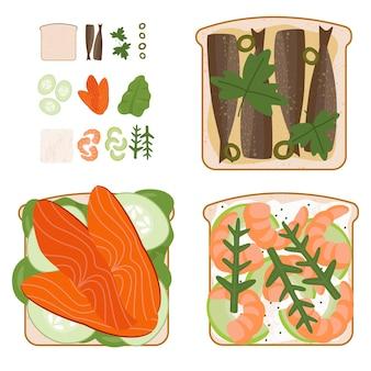 Set di gustosi panini di pesce con ingredienti usati
