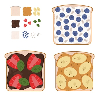Set di gustosi panini dolci con ingredienti usati