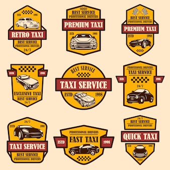 Set di emblemi del servizio taxi. elemento di design per logo, etichetta, segno, poster, carta.