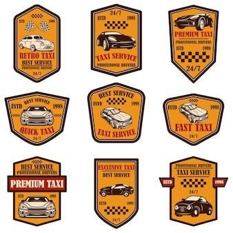 Set di emblemi del servizio taxi. elemento di design per poster, carta, banner, logo, etichetta, segno. illustrazione vettoriale