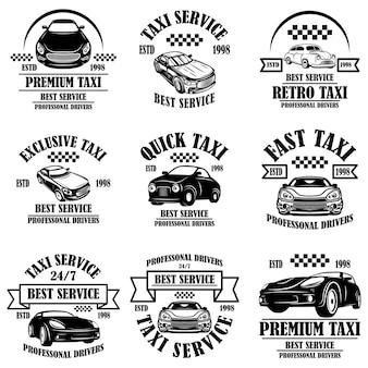 Set di emblemi del servizio taxi. elemento di design per poster, biglietti, banner, logo, etichette. illustrazione vettoriale