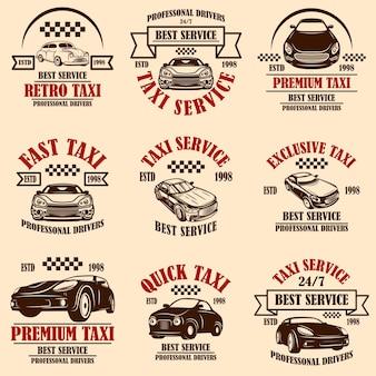 Set di emblemi del servizio taxi. elemento di design per poster, biglietti, banner, logo, etichette.