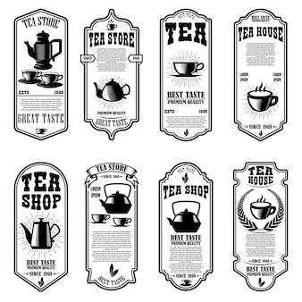 Set di modelli di volantini per la casa da tè. elemento di design per logo, etichetta, segno, poster.