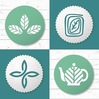 Insieme di elementi di design del logo del tè