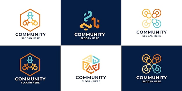 Insieme della raccolta del logo della squadra o del logo della comunità