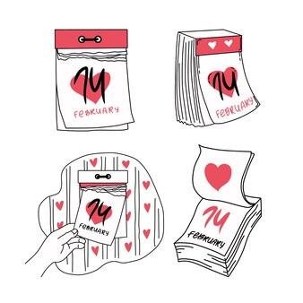 Set di calendari a strappo per febbraio. san valentino. illustrazione.
