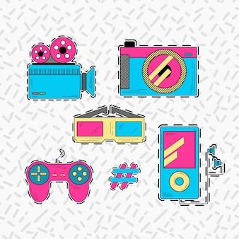 Set di adesivi tecnologici con stile anni '90