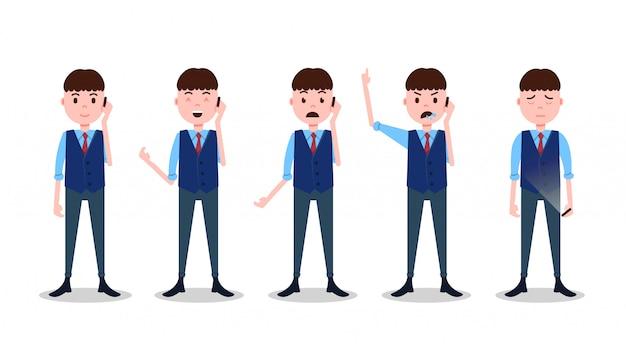 Impostare il carattere del ragazzo adolescente diverse pose ed emozioni telefonata vestito di affari maschile