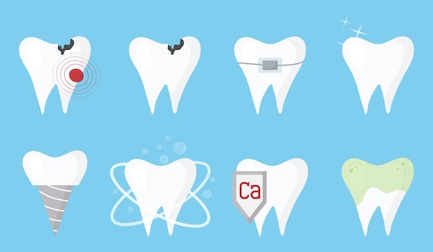 Una serie di denti pulisci i denti malati sporchi