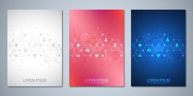 Set di brochure modello o copertina del libro