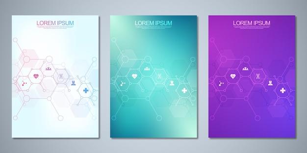 Set di opuscoli modello con design di molecole