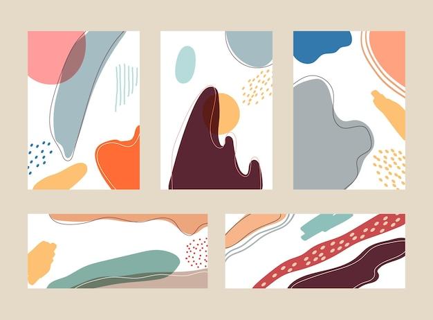 Set di forme e linee organiche disegnate a mano modello