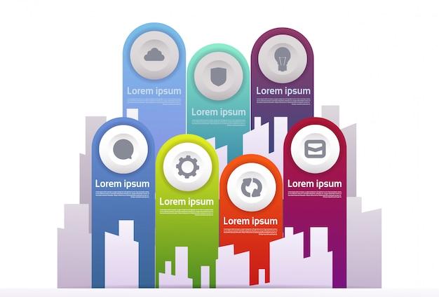 Insieme degli elementi infographic modello per la presentazione di tecnologia e business