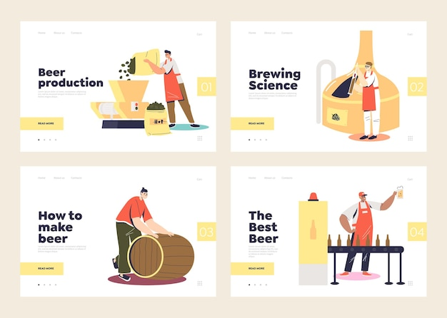 Set di pagine di destinazione modello con birreria e preparazione