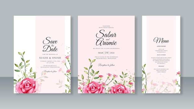 Imposta modello di invito per partecipazione di nozze con rose pittura ad acquerello e glitter