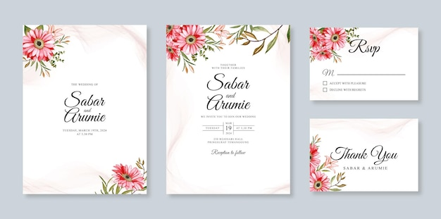 Imposta la carta di invito a nozze modello con pittura ad acquerello floreale