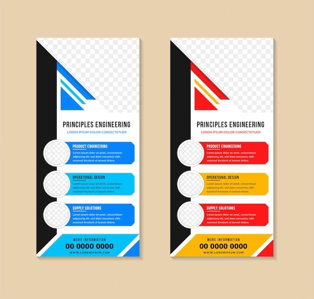 Set di modelli di banner rollup vettoriali bianchi per techno con elementi colorati diagonali