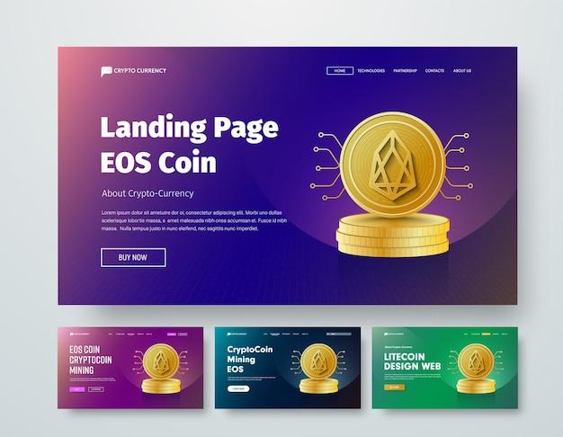 Set di intestazione web di modelli con pile d'oro di monete eos ed elementi di microcircuiti.