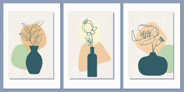 Set di modelli con una composizione astratta di forme semplici e fiori in vasi
