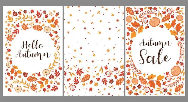 Set di modelli con foglie d'autunno.