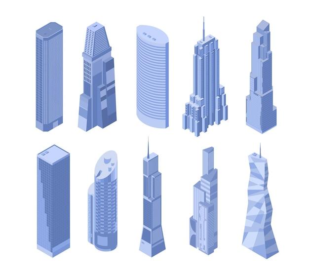 Set di dieci grattacieli isometrici nei toni del blu su sfondo bianco.