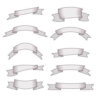 Set di dieci nastri e banner per il web design. ottimo elemento di design isolato su sfondo bianco. illustrazione vettoriale.