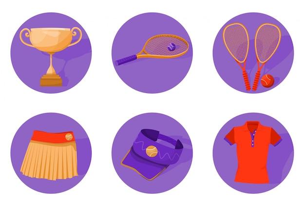 Set di attrezzatura da tennis.