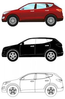 Set di veicoli fuoristrada in stile piatto: sagoma colorata e nera Vettore Premium