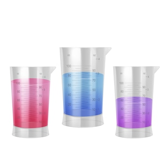 Set di provette con liquido viola rosso e blu, misurino.