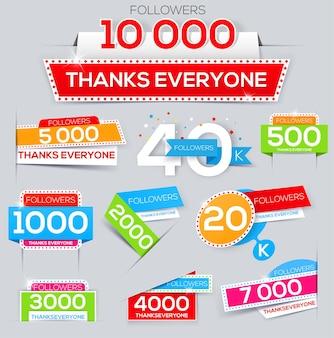 Set di banner di ringraziamento per gli amici della rete grazie follower follow banner