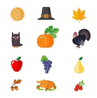 Set di icone di ringraziamento in stile piatto.