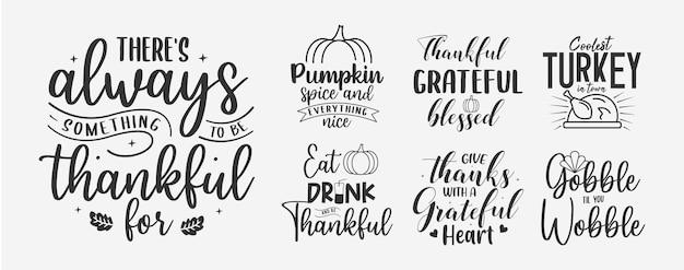 Set di lettere del ringraziamento autunno autunno citazioni per segni biglietto di auguri tshirt e molto altro ancora