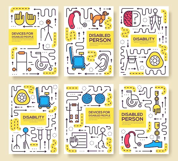 Set di modello di persone cura linea sottile. arte disabile, rivista, libro, poster, astratto, banner, elemento.
