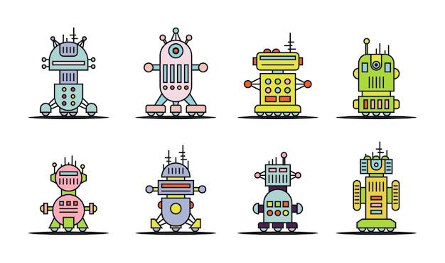 Set di robot colorati di linea sottile isolati su sfondo bianco